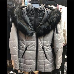 Laundry Shelli segal puffer fur trim dove grey,NWT